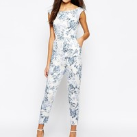 Love Bardot Jumpsuit In Antique Print