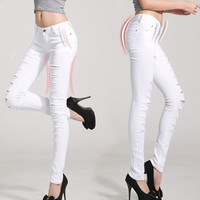 Women Jeans Pants Hot Sale Pencil Full Length Denim Ripped Punk Cut-out Plus Size Sexy Skinny Jean Calca