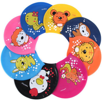 2016 Kids swim cap surf hat Protect Ears Swim Pool Shower cap Children 12 Chinese zodiac and animal Swim Cap For Boys And Girls