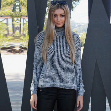 Grey High Collar Long Sleeve Sweater