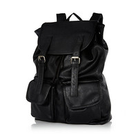 River Island MensBlack leather-look backpack