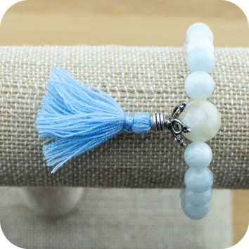 Aquamarine Mala Bracelet with Moonstone