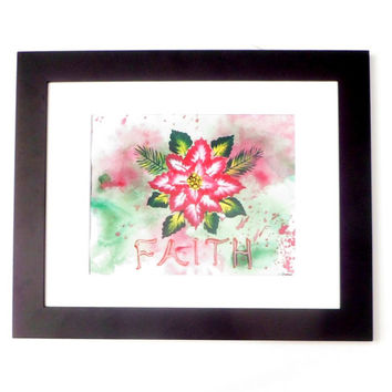 FAITH Red Poinsettia Original Painting, Holiday Art, Inspirational Art Holiday Painting, Mixed Media Floral Art Holiday Decor Gifts Under 30