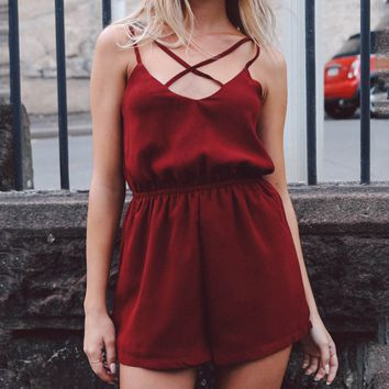 Women's sexy suspenders chest crossover halter jumpsuit red