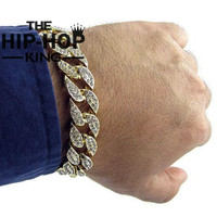 Men's Luxury Rhinestone Fashion Bracelets & Bangles High Quality Gold Color Iced Out Miami Cuban Bracelet Hip Hop