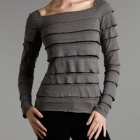 MaxStudio Tiered  ruffled long sleeve tee Charcoal - House of Fraser