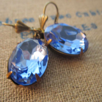 Light Sapphire Rhinestone Earrings. European Ear Wires. September Birthstone. Medium Blue. Crow and Company