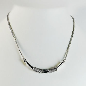 "Silver Bali Necklace - Sterling Silver 16"" Curved Pendant Necklace - Rope Texture Pendant - Thick Sterling Pendant - 16"" Sterling Necklace"
