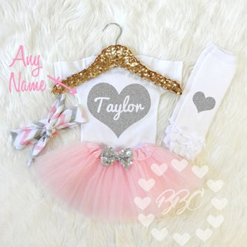 Baby Girl Outfit Personalized Baby Girl Clothes Name Glitter Heart Baby Shower Gifts Floral Bloomers And Head Wrap Gold Pink Flowers