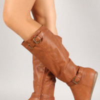 Crinkled Leatherette Double Buckle Boot