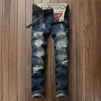 Rinsed Denim Ripped Holes Weathered Jeans [9892502019]