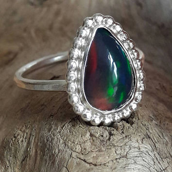 Genuine Black Opal and Sterling Silver Ring - Black Opal Ring - Ethiopian Opal Ring - Pear Shaped Ring - Gift for Her - Statement Ring