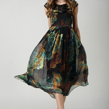 Sheer Black Floral Chiffon Pleated Dress