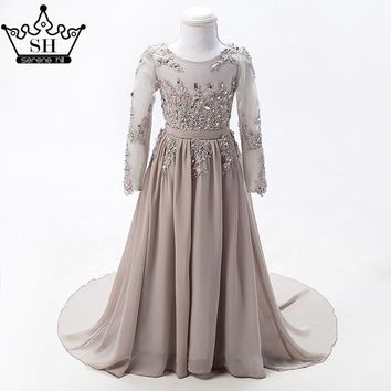 Grey Long Sleeves Sexy Children Flower Girl Dresses Diamond Sequined First Communion dresses for girls 2017 Serene Hill