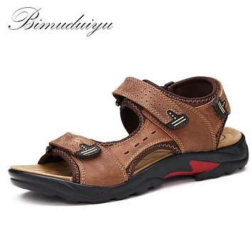Men Sandals Leisure Genuine Leather Summer Cool Light Weight Beach Casual Shoes Handmade Stitching