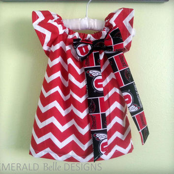 NFL NBA NCAA Sports Dress for Infant, Baby, Toddler, Child or Girl Chevron print with sports team logo (Utah Utes Shown)