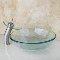 4012-1 Bathroom Modern Transparent Artistic Glass Vessel Sink Faucet & Pop up Drain Combo