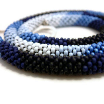 Bead Crochet Necklace Blue Chevrons in Midnight Cobalt by lanmom