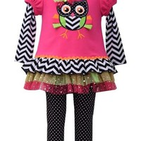Bonnie Jean- Knit To Mesh Tutu Owl Applique Dress/Legging Set , Fuchsia