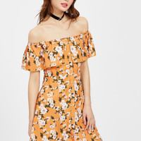 Flounce Layered Neckline Calico Print Button Front Dress -SheIn(Sheinside)