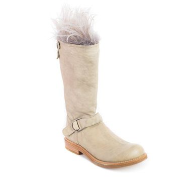 Brunello Cucinelli Womens Beige Ostrich Feather Trim Boots