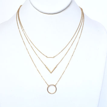 Taking Shape Layered Necklace In Gold