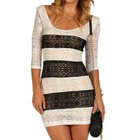 Sale-ivory Striped Lace Bodycon Dress