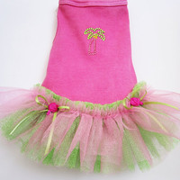 Dog dress tutu tank style spring pink and green palm tree dog clothes small puppy