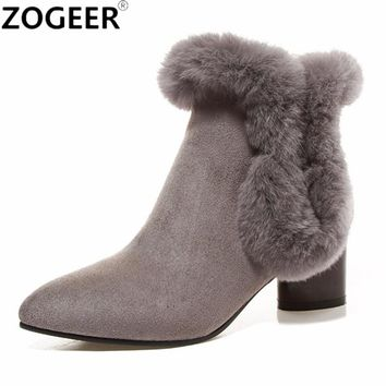 Size 44 2017 New Fashion Women Warm Snow Boots Winter Fur  Suede Women Ankle Boots Female Medium Heels Shoes Woman