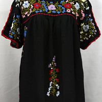 "Mexican Blouse XXL: ""Lijera Libre"" by Siren in Black with Multi Color Embroidery"