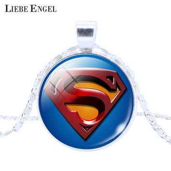 LIEBE ENGEL Vintage Silver Jewelry League Captain America Spider man Glass Pendant Necklace Silver Plated Statement Necklace