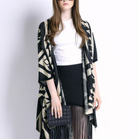 Black Geometric Pattern Knitted Cardigan