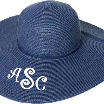 Personalized Navy Blue Floppy Sun Beach Pool Derby Hat - Monogrammed