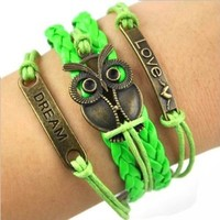 World Pride Light Green Leather Strand Owl Charm Love Heart Dream Bracelet