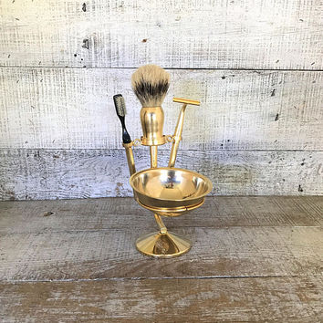 Grooming Kit Brass Men's Grooming Kit Brass Shaving Kit with Stand Shave Brush Razor Kit Toothbrush Set Grooming Set with Stand Stand