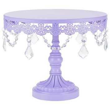 10 Inch Crystal-Draped Round Metal Cake Stand (Lavender Purple)