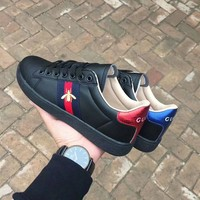 """""""Gucci"""" Unisex Casual Fashion Multicolor Stripe Embroidery Little Bee Small White Shoes Couple Plate Shoes Sneakers"""
