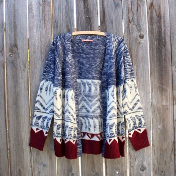 native navy and burgundy open cardigan