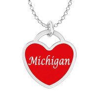 Michigan Heart Necklace in Solid Sterling Silver