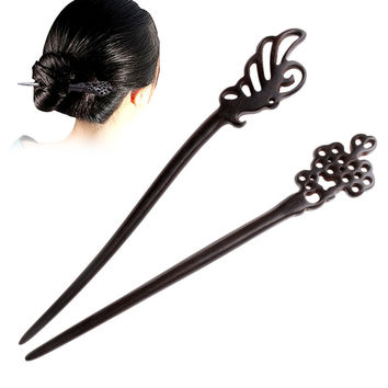 Vintage Wooden Hair Stick Pin Handmade Carved Wood Hair Accessories Plum Flower/Butterfly