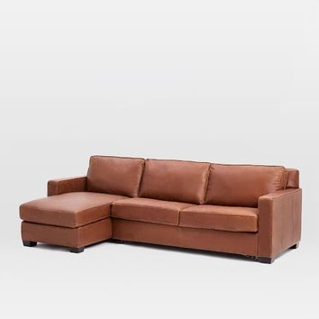 Henry 2-Piece Pull-Down Leather Sleeper Sectional + Storage