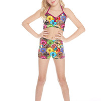 Girls Stacked Donuts Dance Shorts