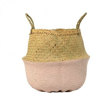 Halle Basket, Seagrass and Rose