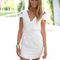 WINTER SUN DRESS , DRESSES, TOPS, BOTTOMS, JACKETS & JUMPERS, ACCESSORIES, 50% OFF SALE, PRE ORDER, NEW ARRIVALS, PLAYSUIT, COLOUR, GIFT VOUCHER,,White,CUT OUT,SHORT SLEEVE,MINI Australia, Queensland, Brisbane