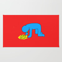 Keith Haring style - Too much alcohol - Funny Illustration Pop Art Rug by Estef Azevedo