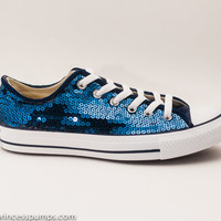 Navy Blue Sequin Converse All Star Low Top Sneakers Shoes