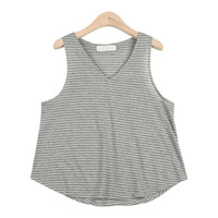 Simple V-Neck Striped Sleeveless Shirt