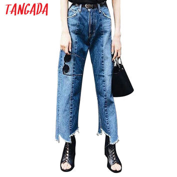 Tangada Summer Style Boyfriend Mom Jeans Woman Trousers 2017 Casual Loose Vintage Denim High Waist Jeans Pants Capris Female SA2