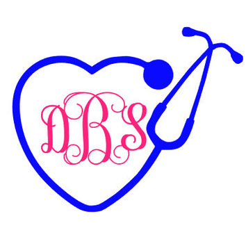 Monogrammed Stethoscope Decal/Car Decal