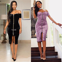 Fashion Women Off Shoulder Bandage Bodycon Party Pencil Evening mini Dress sexy clothes for femme